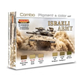 SPG01 Lifecolor Israeli Army Pigment & Colour Combo Set (This set contains 3 Acrylic colors and 3 pigments)