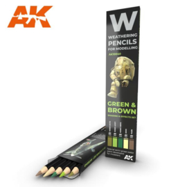 AK10040 Green & Brown Shading & Effects set (5 Pecils)