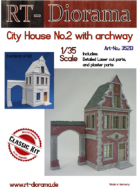 RT35213 1:35 RT-Diorama City House No.2 with archway Incl. lasered windows and doors!