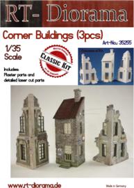 RT35255 1:35 RT-Diorama Corner Ruin set 3 buildings Incl. lasered door and windows