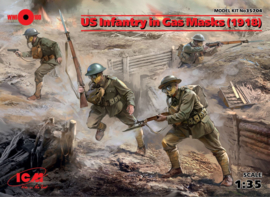 ICM35704 1:35 ICM US Infantry in Gas Masks (1918) (4 figures) New Molds