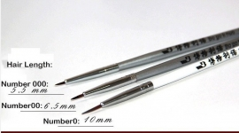 HB001 High quality fine brush set (Short Hair) size 0/00 and 000 (Oil and Acrylic) Weasel Hair