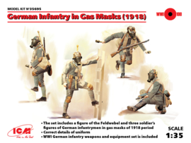 ICM35695 1:35 ICM German Infantry in Gas Masks (1918) (4 figures) New Molds