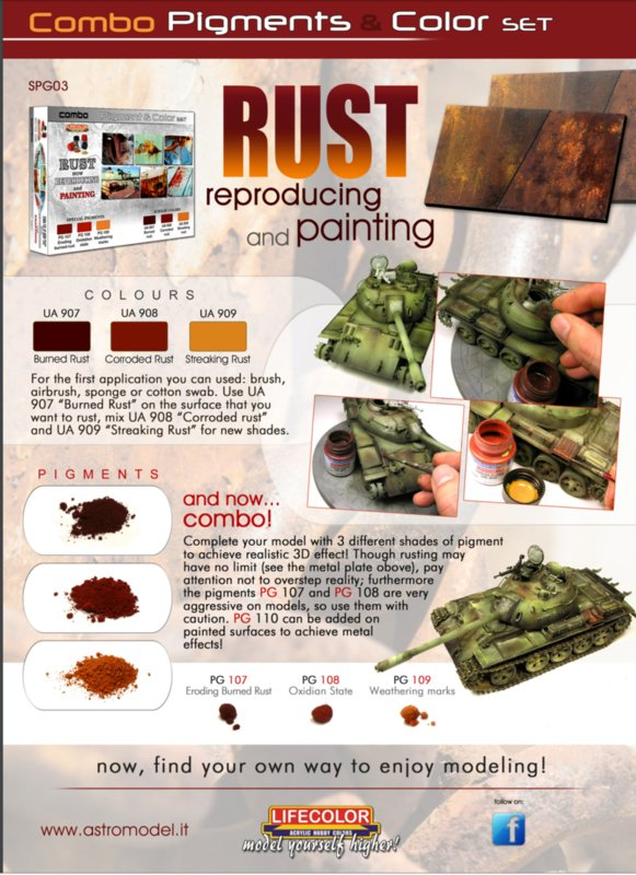 SPG03  Lifecolor Rusty Pigment & Colour Combo Set (This set contains 3 Acrylic colors and 3 pigments)