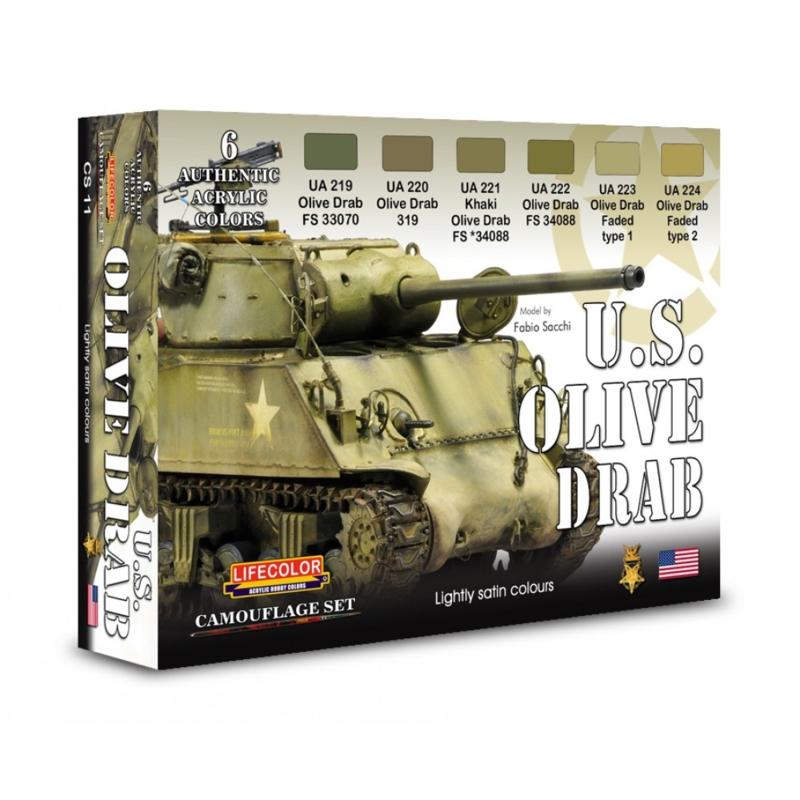 CS11 Lifecolor U S  Olive Drab (This set contains 6 acrylic