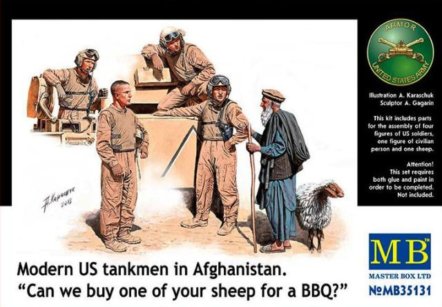 """MB35131 1:35 Masterbox Modern US tankmen in Afghanistan. """"Can we buy one of your sheep for a BBQ?"""""""