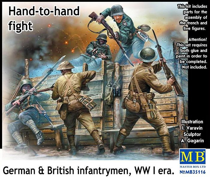 MB35116 1:35 Masterbox British & German infantrymen Hand to hand Fight WWI era Incl Trench section