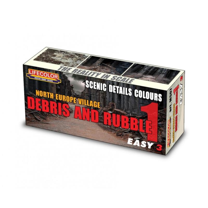 MS07 Lifecolor Easy 3 Contrast and Desaturation Debris and Rubble Set 1 Out of production last sets