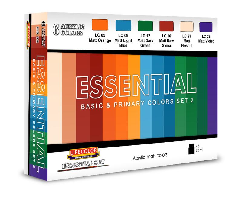 BES02 Lifecolor Essentials color set 2 (The Set Contains 6 acrylic colors)