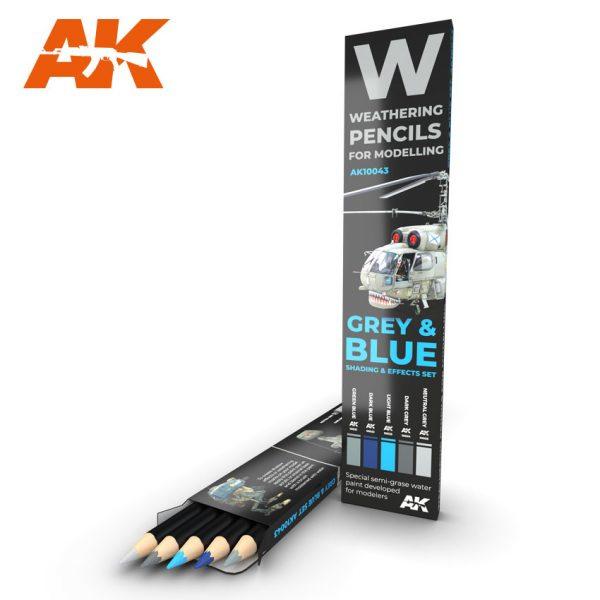 AK10043 Grey & Blue Shading & Effects set (5 Pecils)