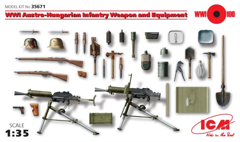 ICM35671 1:35 ICM WWI Austro-Hungarian Infantry, Weapon and Equipment