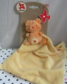 Nicotoy knuffeldoekje poes geel/oranje