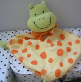 Nijlpaard knuffeldoek geel/oranje | Evora