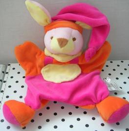 Konijn knuffeldoek oranje/roze | Blankets & Beyond