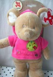 Muis knuffel roze truitje   Nicotoy