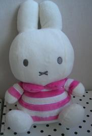 Nijntje knuffel roze/wit gestreept | Tiamo