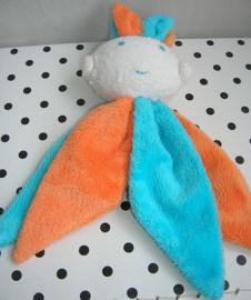 Knuffeldoekje harlekijn oranje/blauw | Difrax