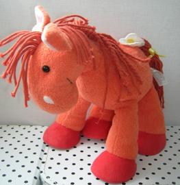 Knuffel paard oranje met bloem | Happy Horse