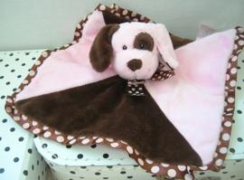 Hond knuffeldoek roze/bruin | Cute 'n Soft