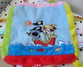 Woezel en Pip knuffeldoekje piraat labels | Tiamo