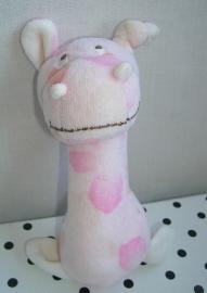 Nijlpaard Kay knuffel rammelaar roze | Happy Horse