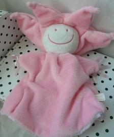 Knuffeldoek handpop bloem of zon roze | Difrax