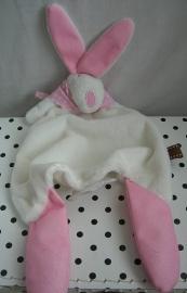 Konijn knuffeldoek Rufus Rabbit wit/roze | The Little Dog