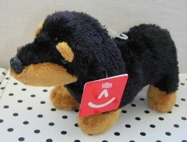 Teckel knuffel hond zwart/bruin | Aurora