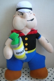 Popeye the Sailor Man knuffel met blik spinazie
