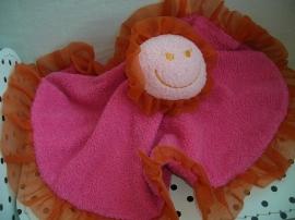 Knuffeldoek roze met oranje rand | Difrax