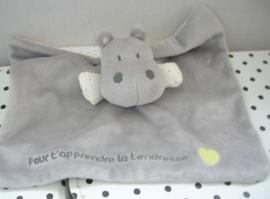 Nijlpaard knuffeldoek grijs | Obaibi