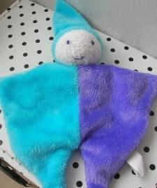 Knuffeldoekje pierrot harlekijn paars/blauw | Difrax
