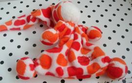 Knuffeldoekje tutpopje oranje/wit gevlekt velours | Tiamo De Kandeel