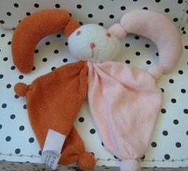Knuffeldoekje nar harlekijn bruin/roze | Difrax