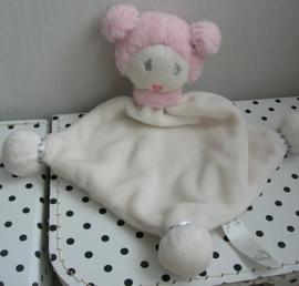 Pop Evy knuffeldoekje wit/roze | Happy Horse