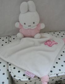 Nijntje knuffeldoekje roze/wit | Tiamo