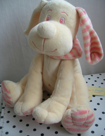 Hond knuffel ecru/roze met muziekdoosje | Cher & Cherry Anna Club Plush