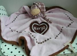 Pop Herz knuffeldoek roze/bruin | Kathe Kruse