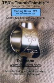 TED's Thumbtimble Sterling Silver .925 with stainless steel cup