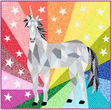 Violet Craft - Patroon Unicorn & Horse abstractions quilt