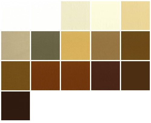 Color samples white, cream, beige and brown