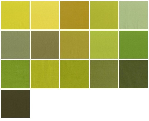Color samples yellow-green