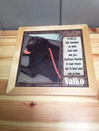 tegeltje 15 op 15 cm ( foto en tekst naar keuze ) in houten kader