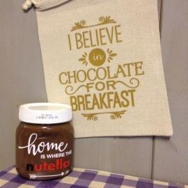 linnen giftzakje ontbijt met nutella choco bedrukt