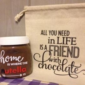 linnen giftzakje friend met nutella choco bedrukt