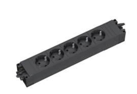 Bachman step base  5x 230V Zwart + wieland connectie snoer 5 meter
