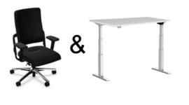 Pakket: bureaustoel en zit/sta bureau