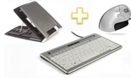 Pakket: toetsenbord 840 + Grip muis + laptopverhoger 330