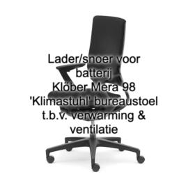 Lader/snoer voor batterij Klöber Mera 98 'Klimastuhl' bureaustoel t.b.v. verwarming & ventilatie