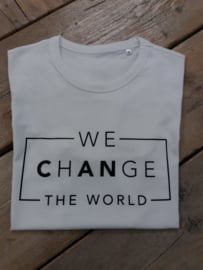 SALE T-shirt heren We change the world | Maat M | wit